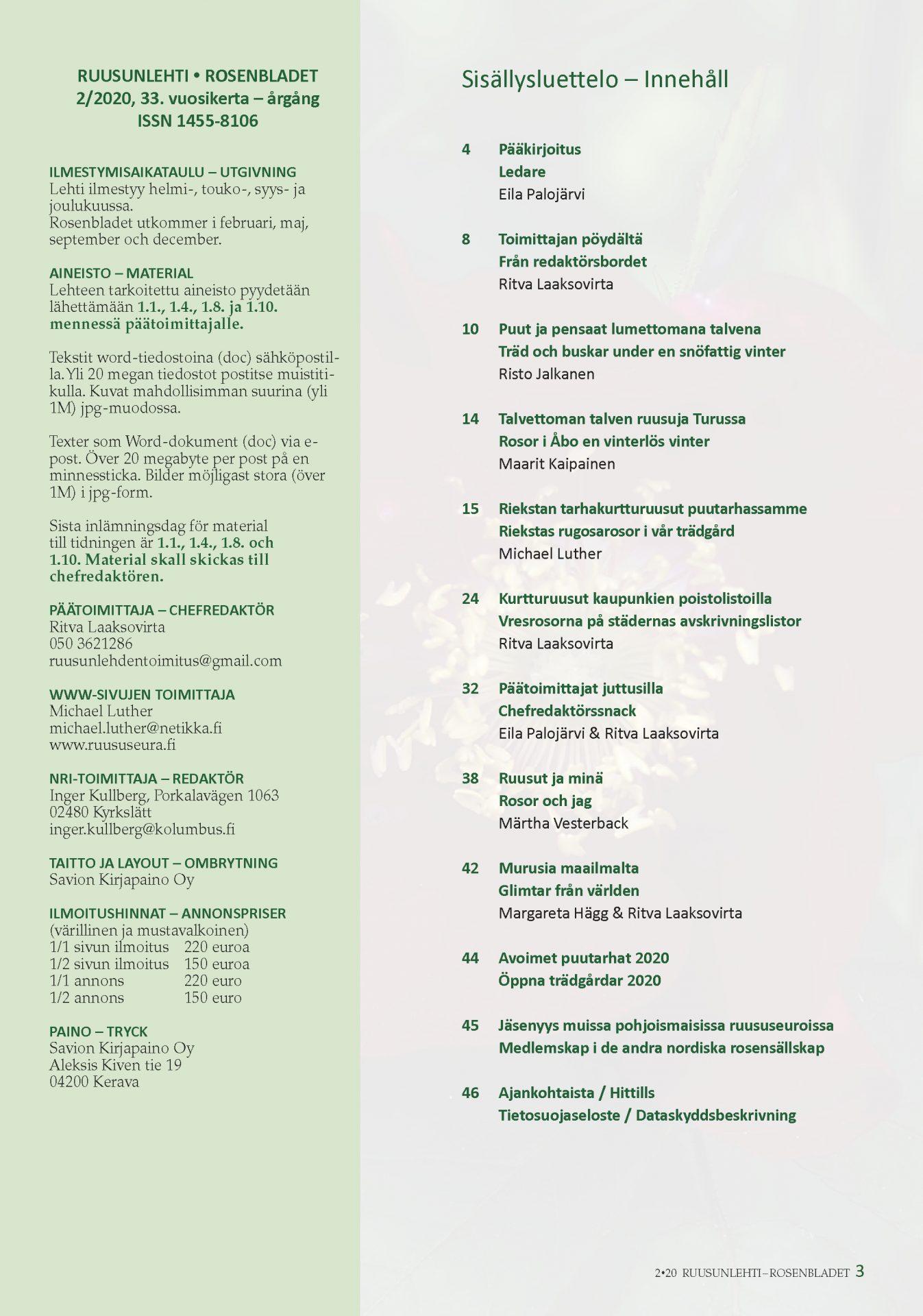 Rosenbladet 2-2020 innehållsförteckning