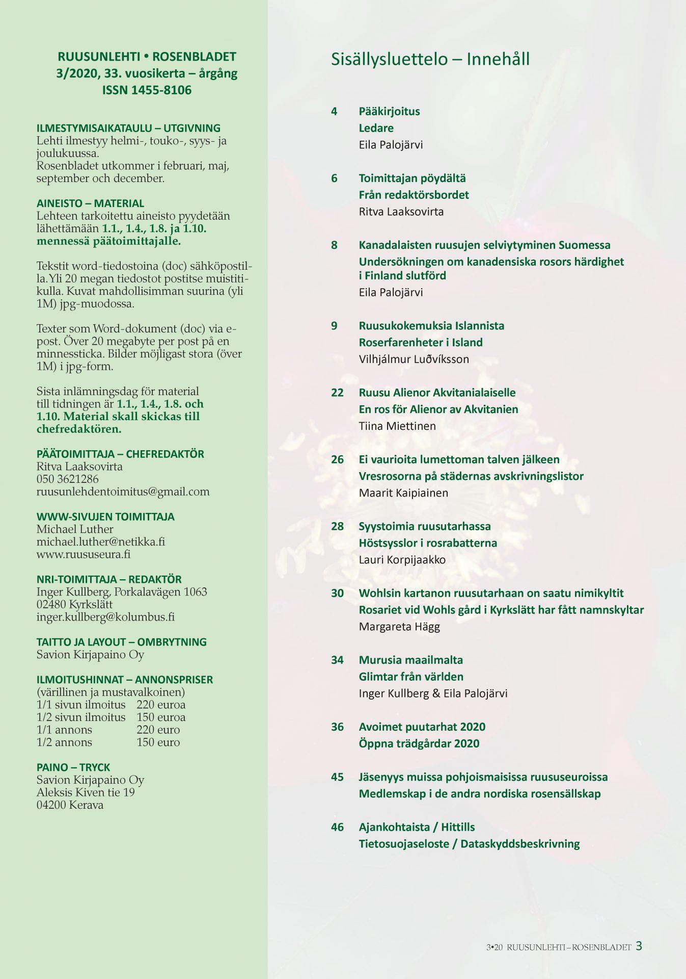 Rosenbladet 3-2020 innehållsförteckning