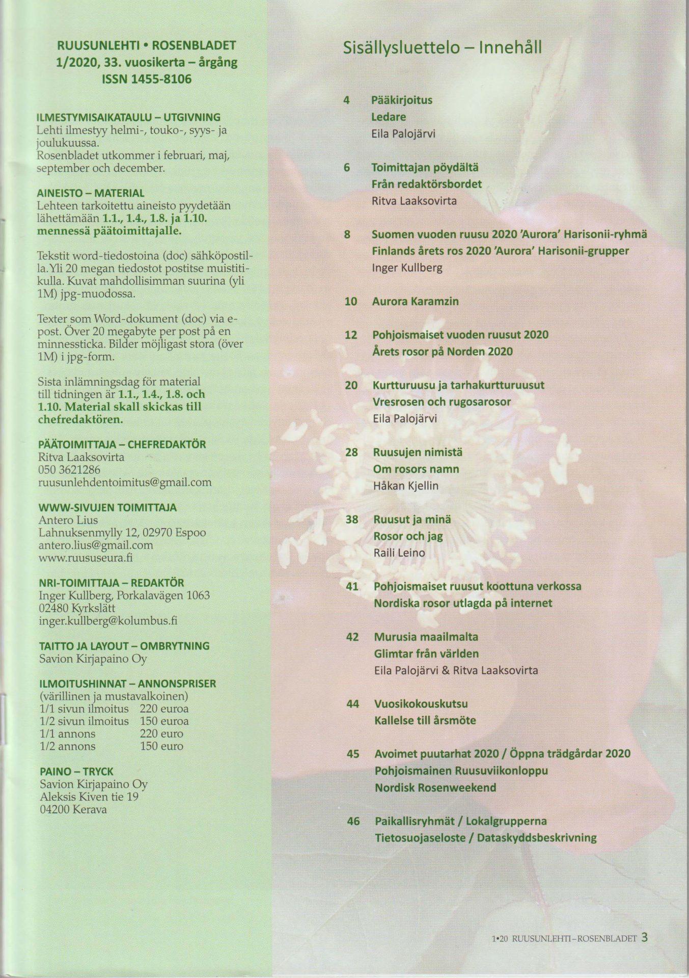 Rosenbladet 1 2020 innehålsförteckningmedium